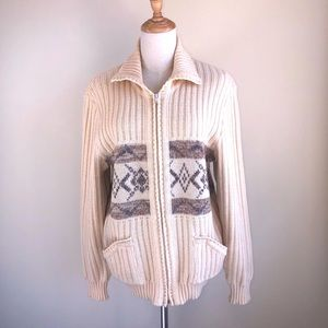 Unique fashion knitwear ribbed zip up sweater